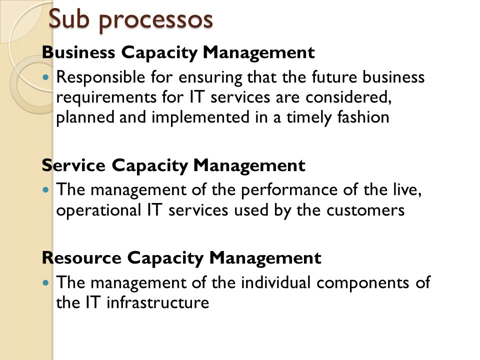 Sub processos Business Capacity Management