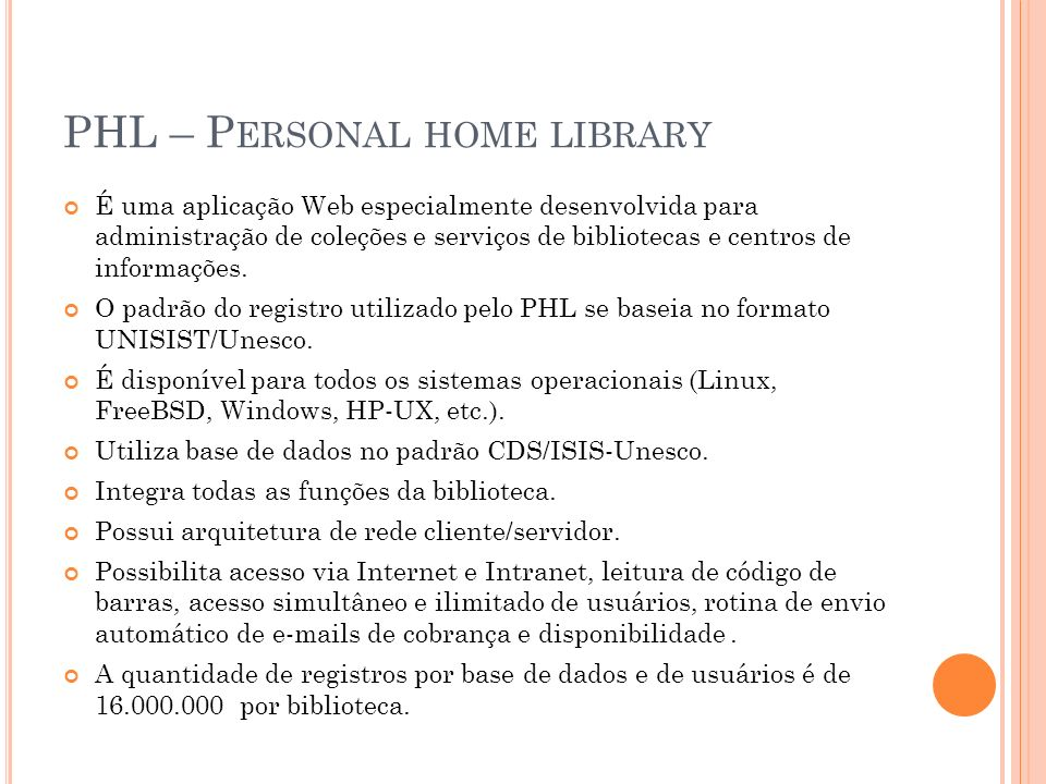 PHL – Personal home library