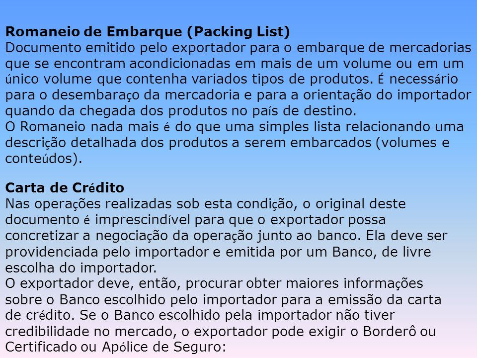 Romaneio de Embarque (Packing List)