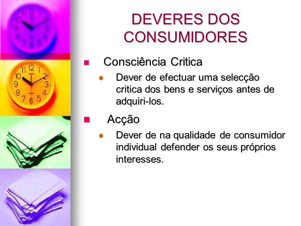 DEVERES DOS CONSUMIDORES