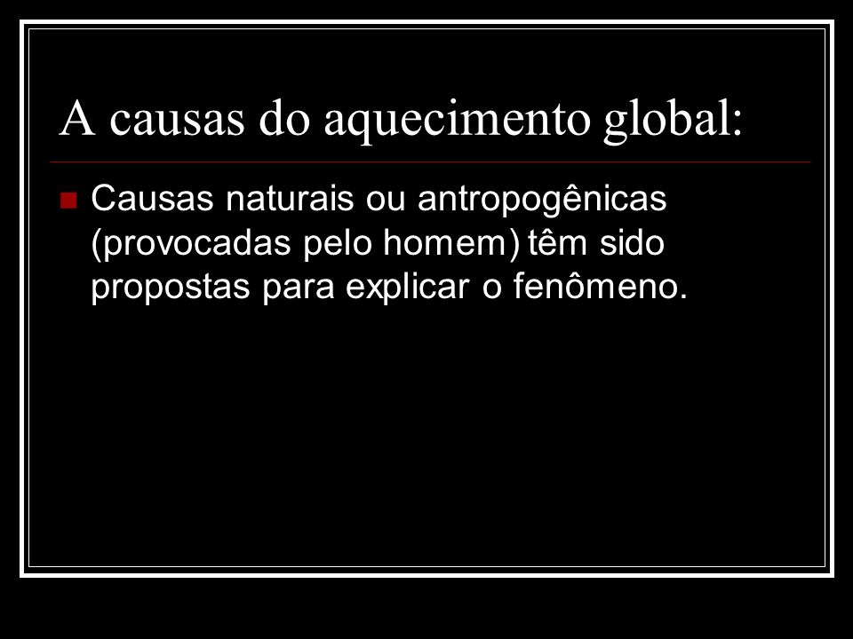 A causas do aquecimento global: