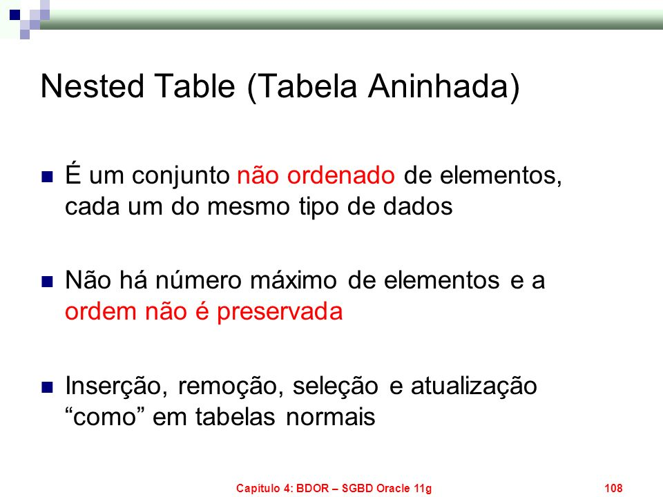 Nested Table (Tabela Aninhada)