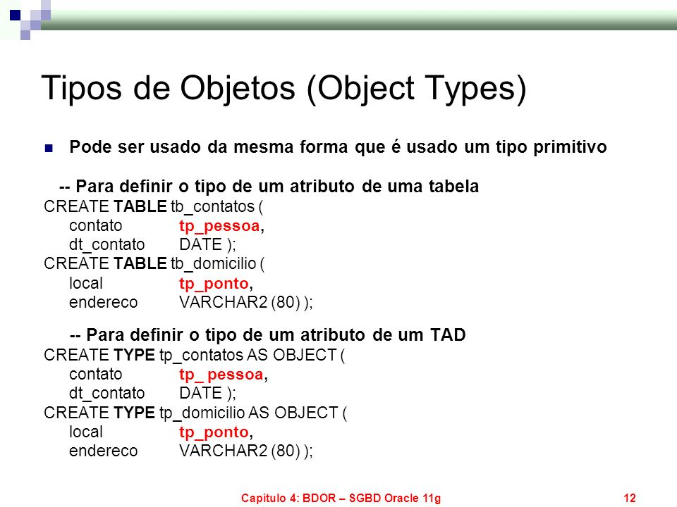 Tipos de Objetos (Object Types)