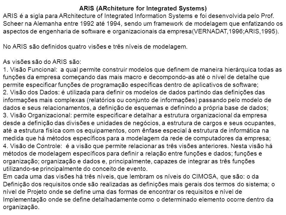 ARIS (ARchiteture for Integrated Systems)