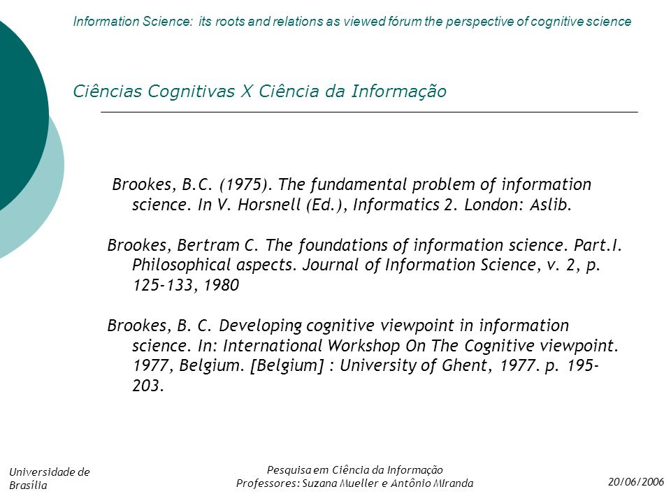 Information science its roots and relations as viewed frum the 47 cincias cognitivas fandeluxe Images