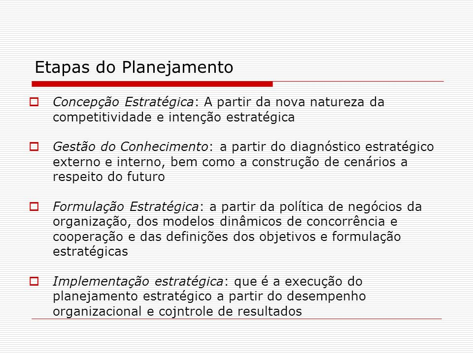 Etapas do Planejamento