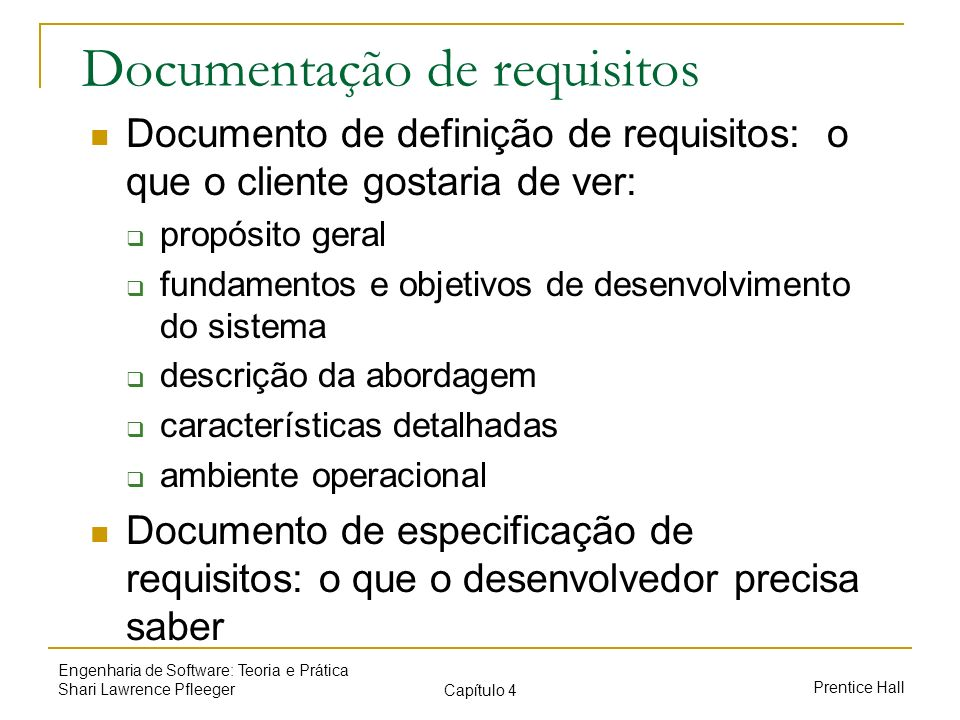 Documentação de requisitos