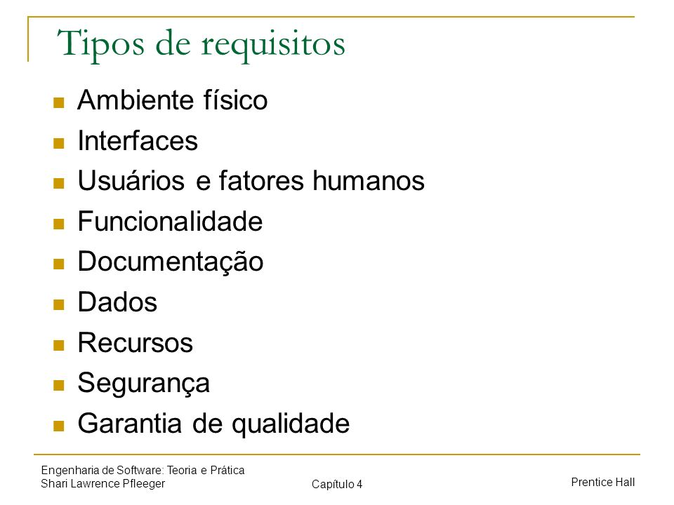 Tipos de requisitos Ambiente físico Interfaces