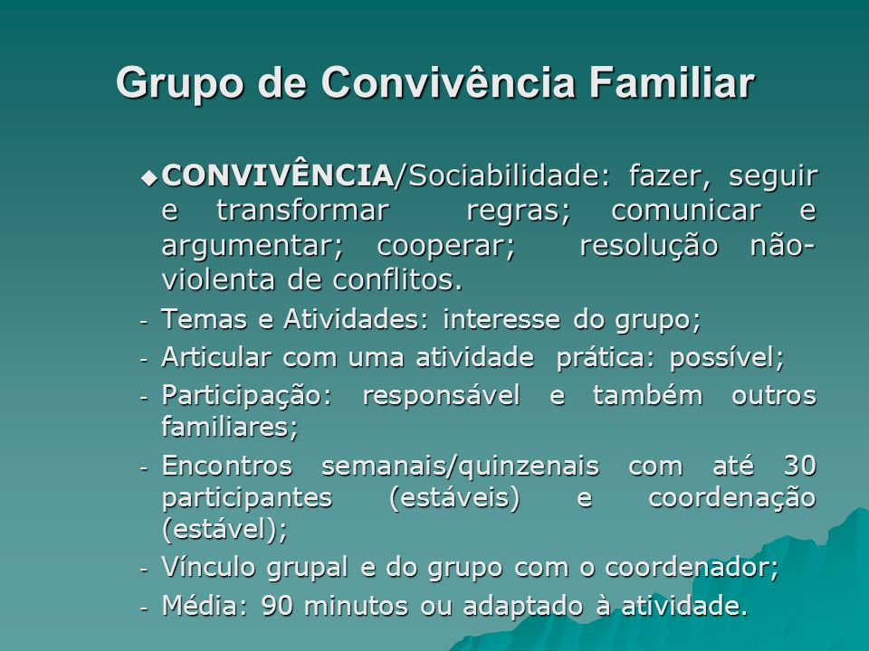 Grupo de Convivência Familiar