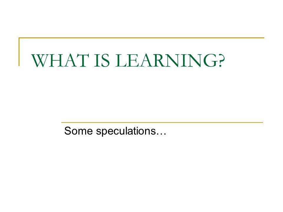 WHAT IS LEARNING Some speculations…