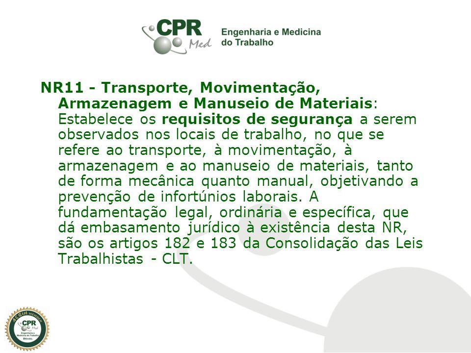 NR11 - Transporte, Movimentação, Armazenagem e Manuseio de Materiais   Estabelece os requisitos de fbc0adfb97