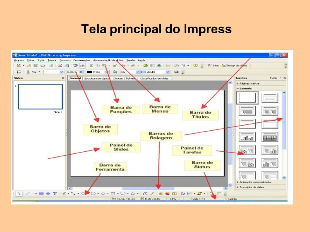 Tela principal do Impress
