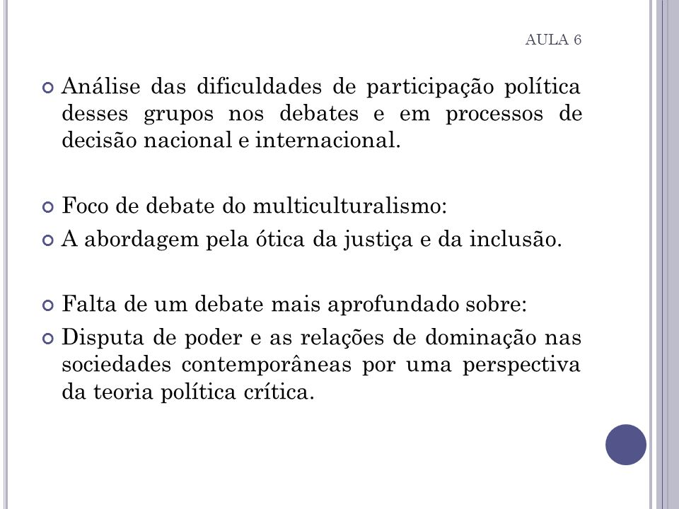 Foco de debate do multiculturalismo: