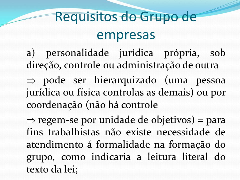 Requisitos do Grupo de empresas