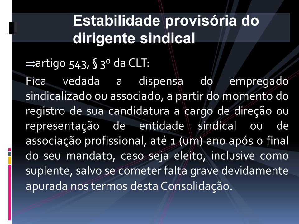 Estabilidade provisória do dirigente sindical
