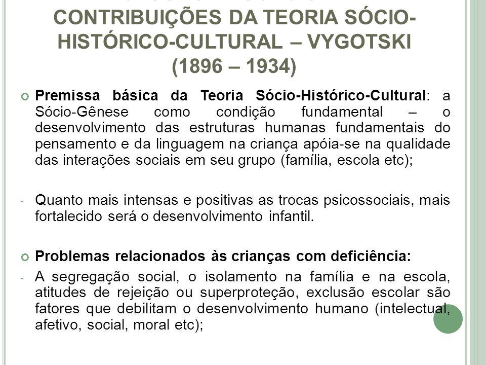 36ab8f2cfca INCLUSÃO EDUCACIONAL  CONTRIBUIÇÕES DA TEORIA SÓCIO-HISTÓRICO-CULTURAL –  VYGOTSKI (1896 –