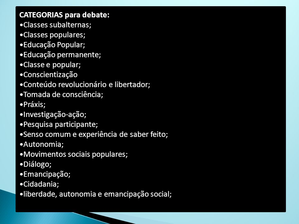 CATEGORIAS para debate: