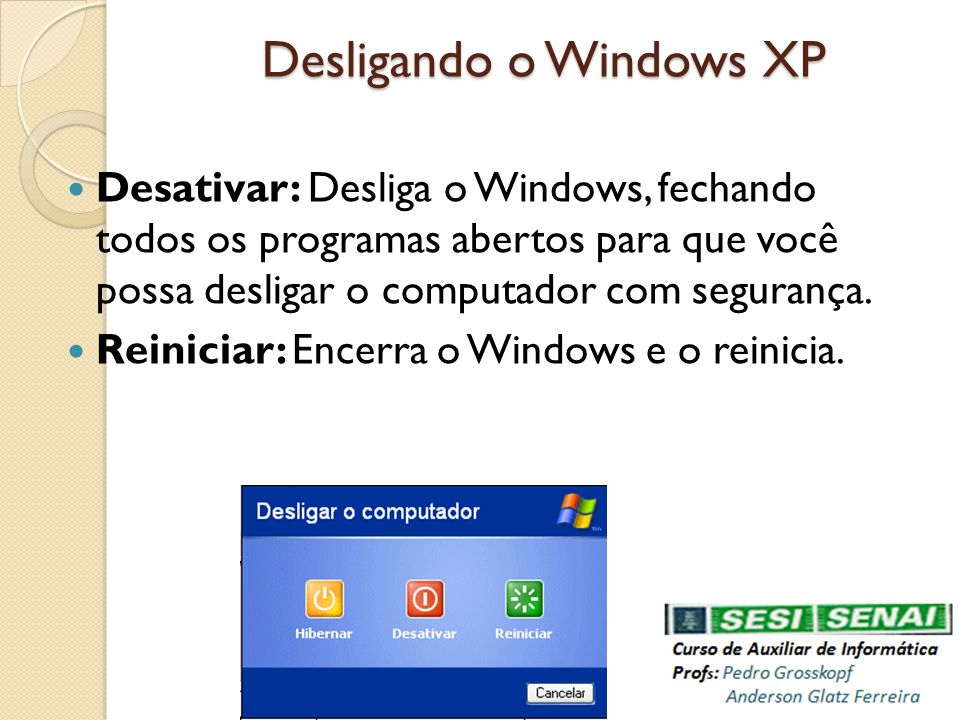 Desligando o Windows XP
