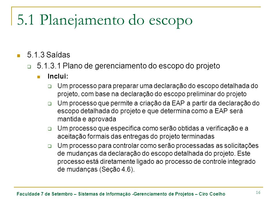 5.1 Planejamento do escopo
