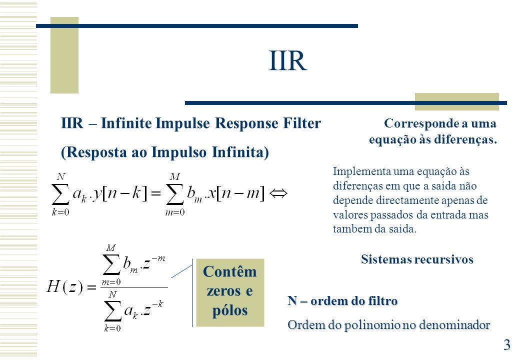 IIR IIR – Infinite Impulse Response Filter