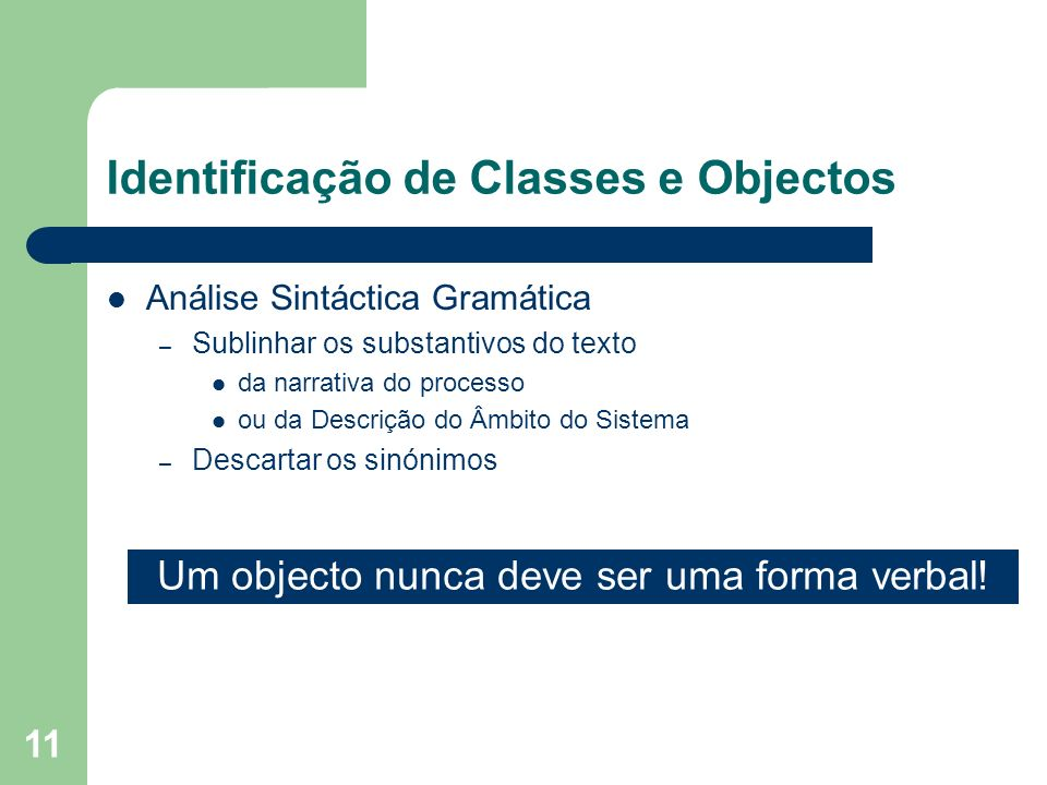 Identificação de Classes e Objectos