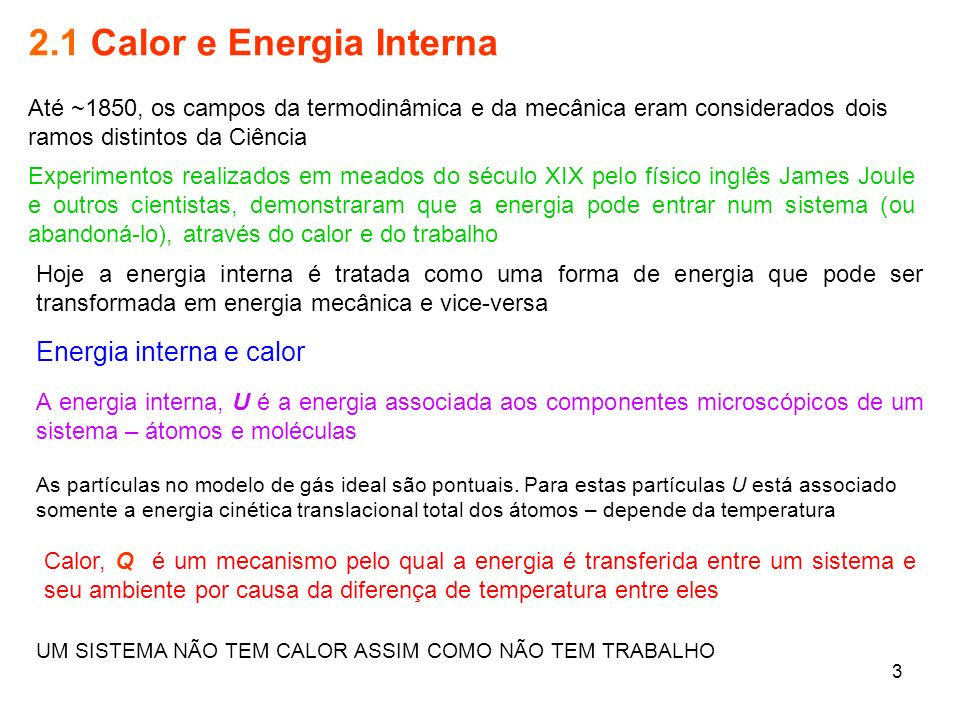 2.1 Calor e Energia Interna