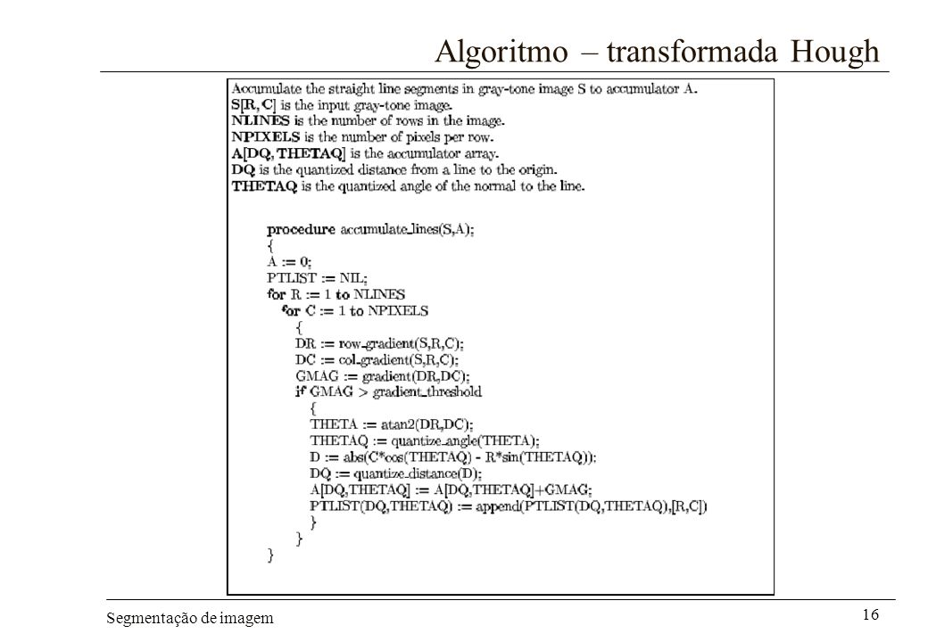 Algoritmo – transformada Hough