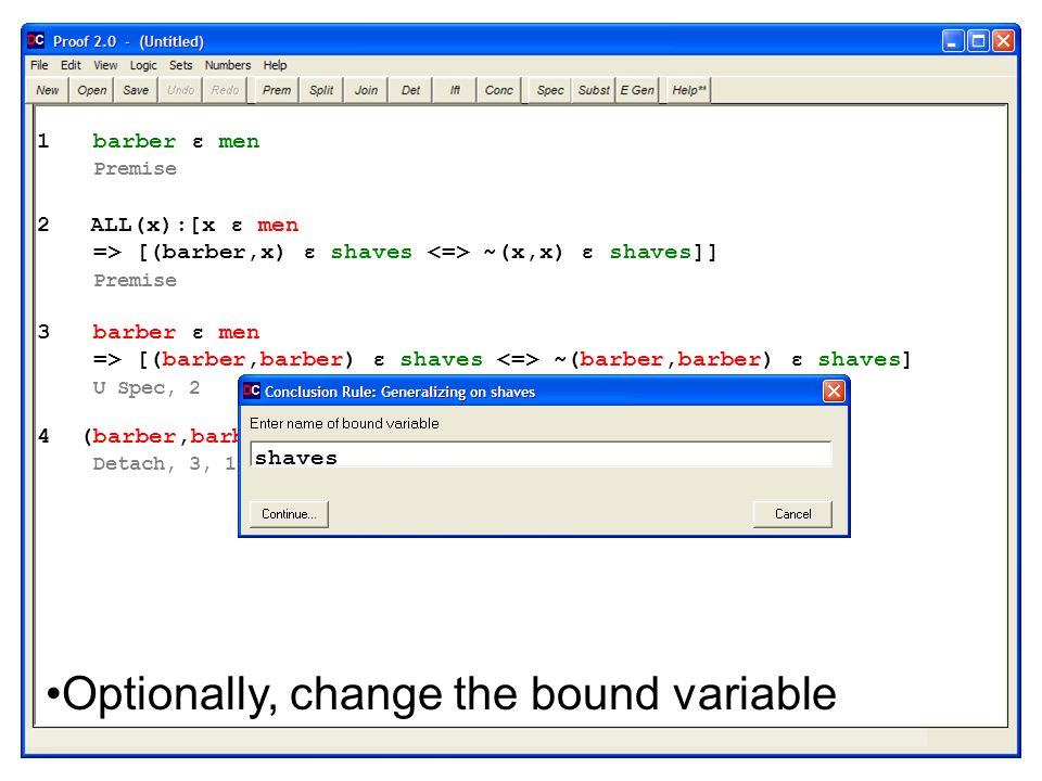 Optionally, change the bound variable