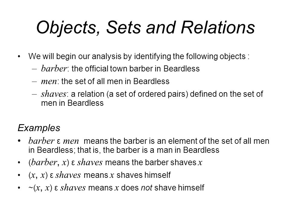Objects, Sets and Relations