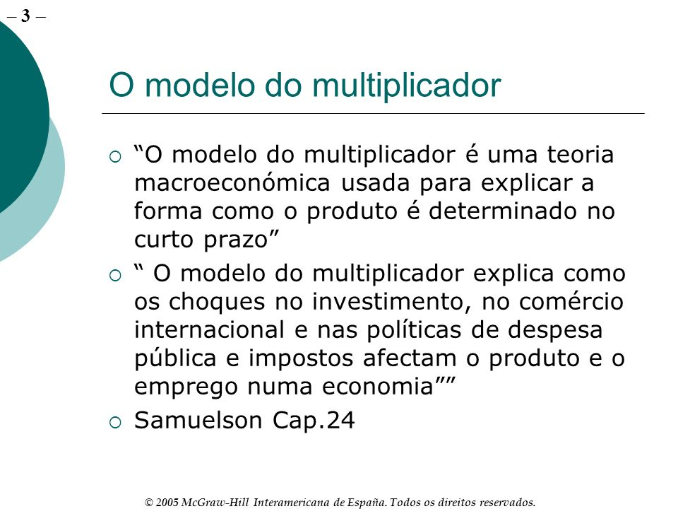 O modelo do multiplicador