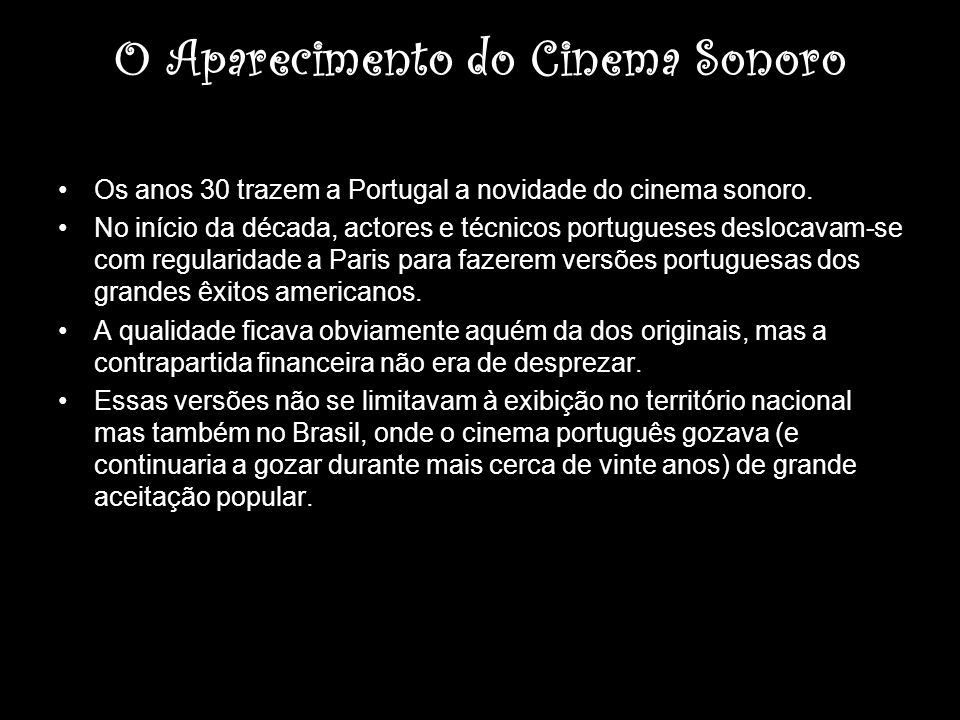 O Aparecimento do Cinema Sonoro