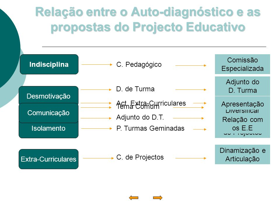 Relação entre o Auto-diagnóstico e as propostas do Projecto Educativo