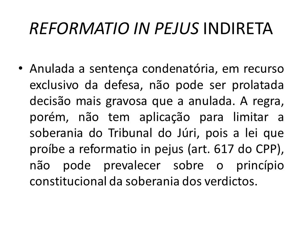 REFORMATIO IN PEJUS INDIRETA