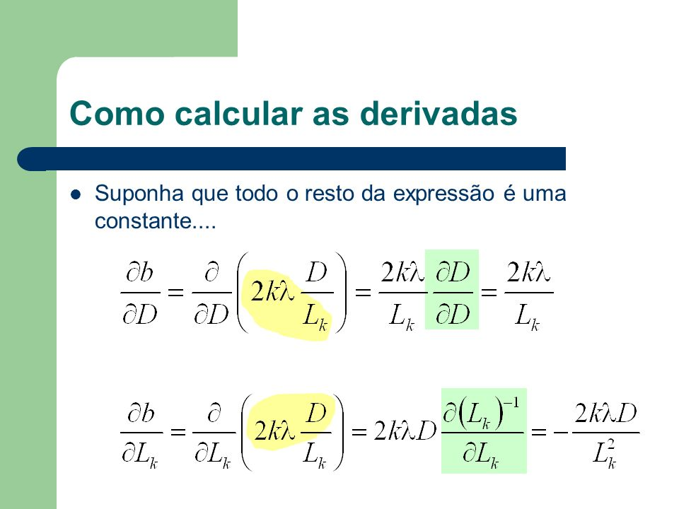 Como calcular as derivadas