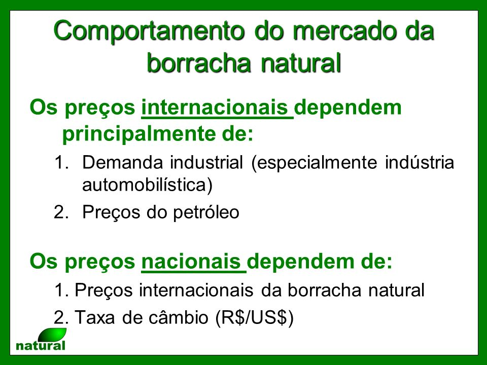 Comportamento do mercado da borracha natural