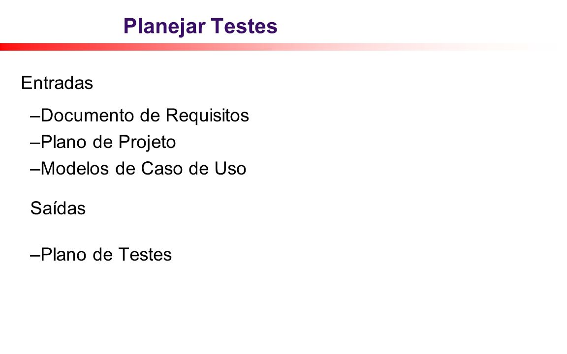 Planejar Testes Entradas Documento de Requisitos Plano de Projeto