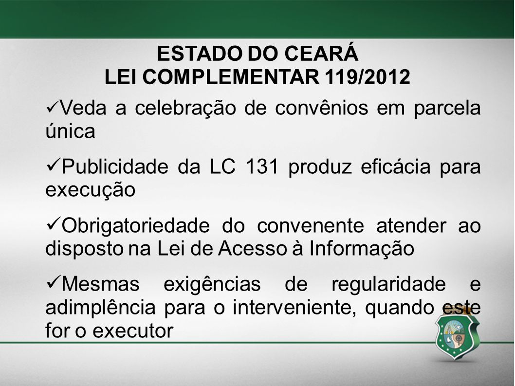 ESTADO DO CEARÁ LEI COMPLEMENTAR 119/2012