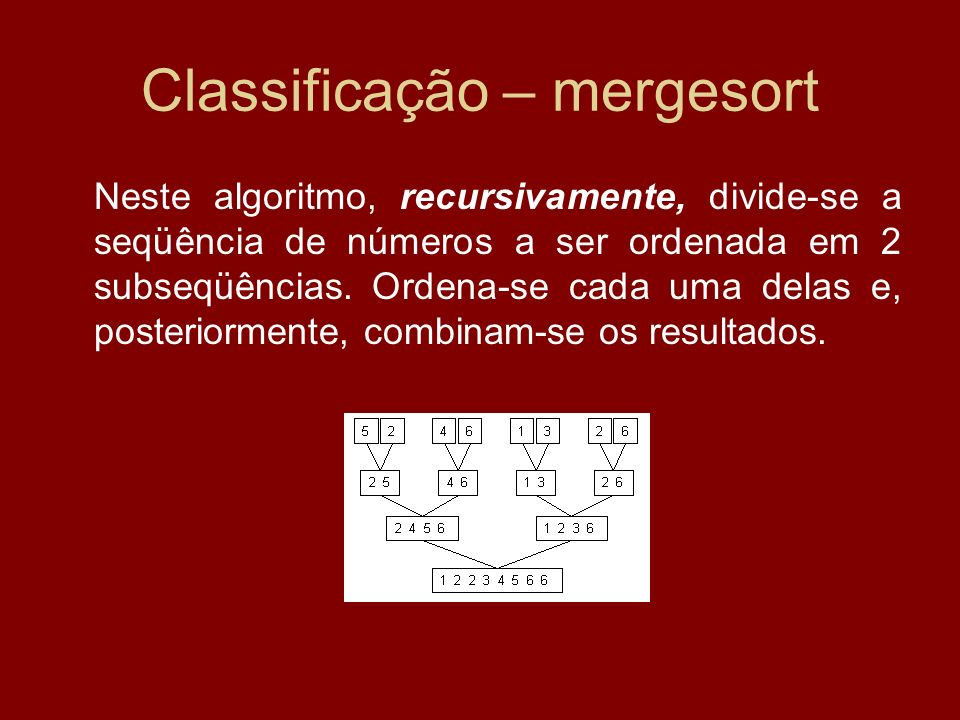 Classificação – mergesort