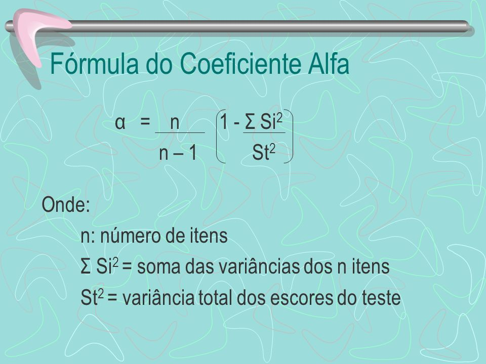 Fórmula do Coeficiente Alfa