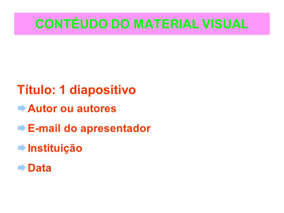 CONTÉUDO DO MATERIAL VISUAL