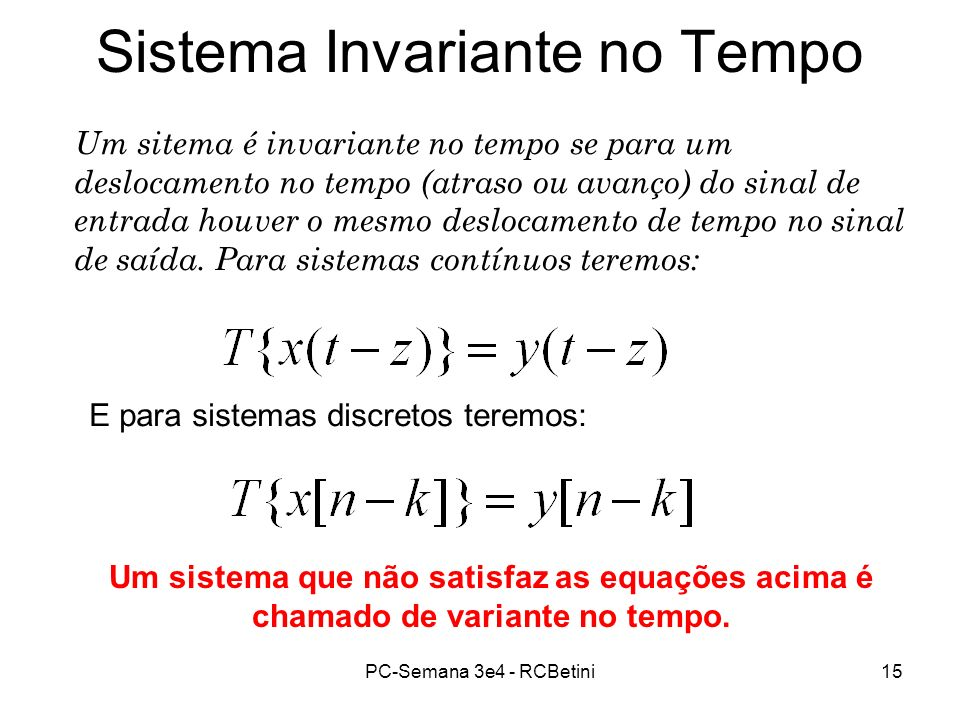 Sistema Invariante no Tempo