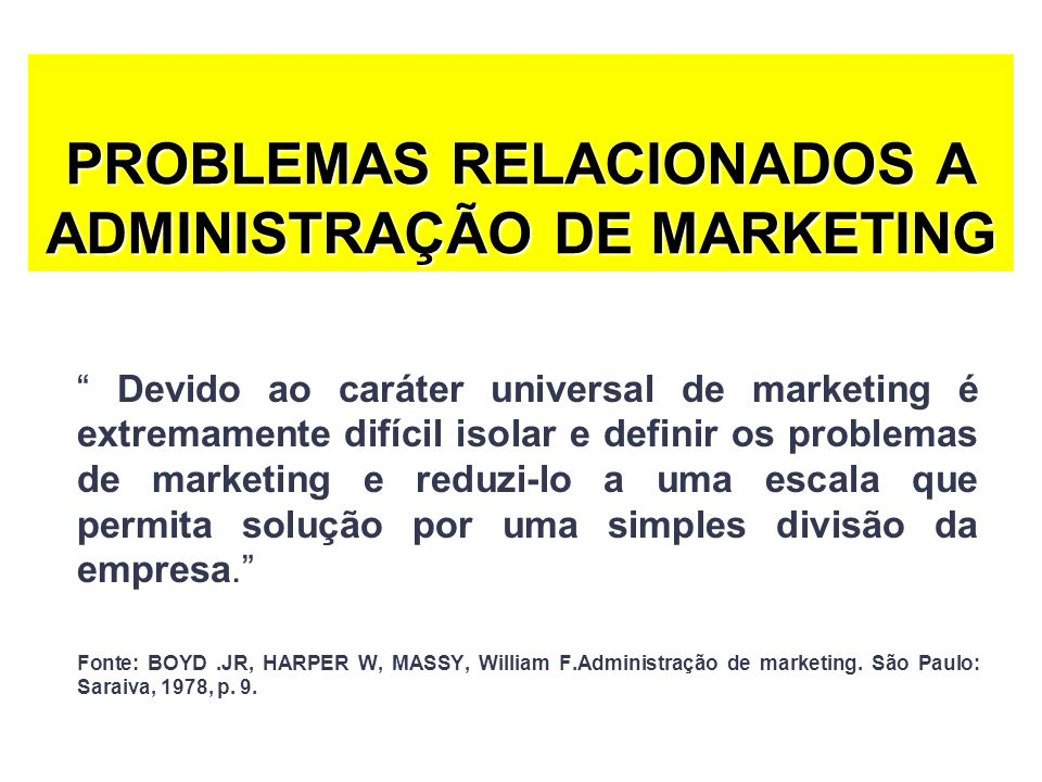 PROBLEMAS RELACIONADOS A ADMINISTRAÇÃO DE MARKETING
