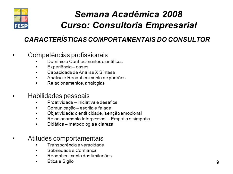 CARACTERÍSTICAS COMPORTAMENTAIS DO CONSULTOR