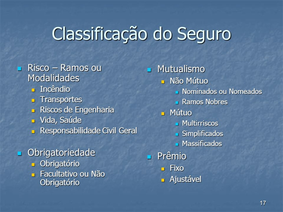 Classificação do Seguro