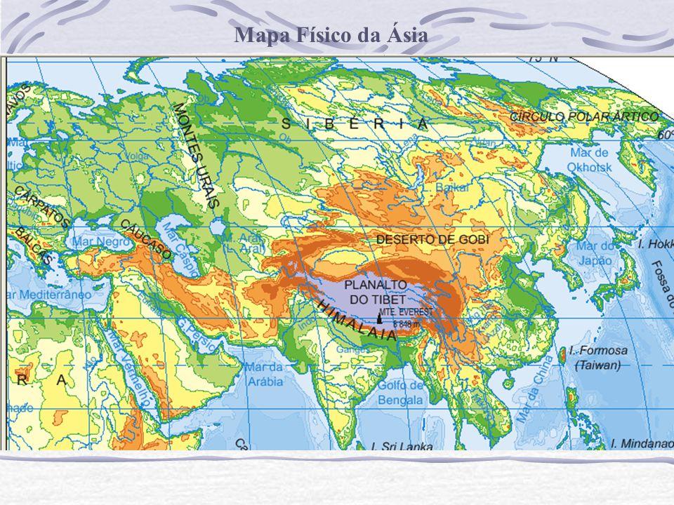 mapa fisico da asia Mapa Físico da Ásia.   ppt carregar mapa fisico da asia