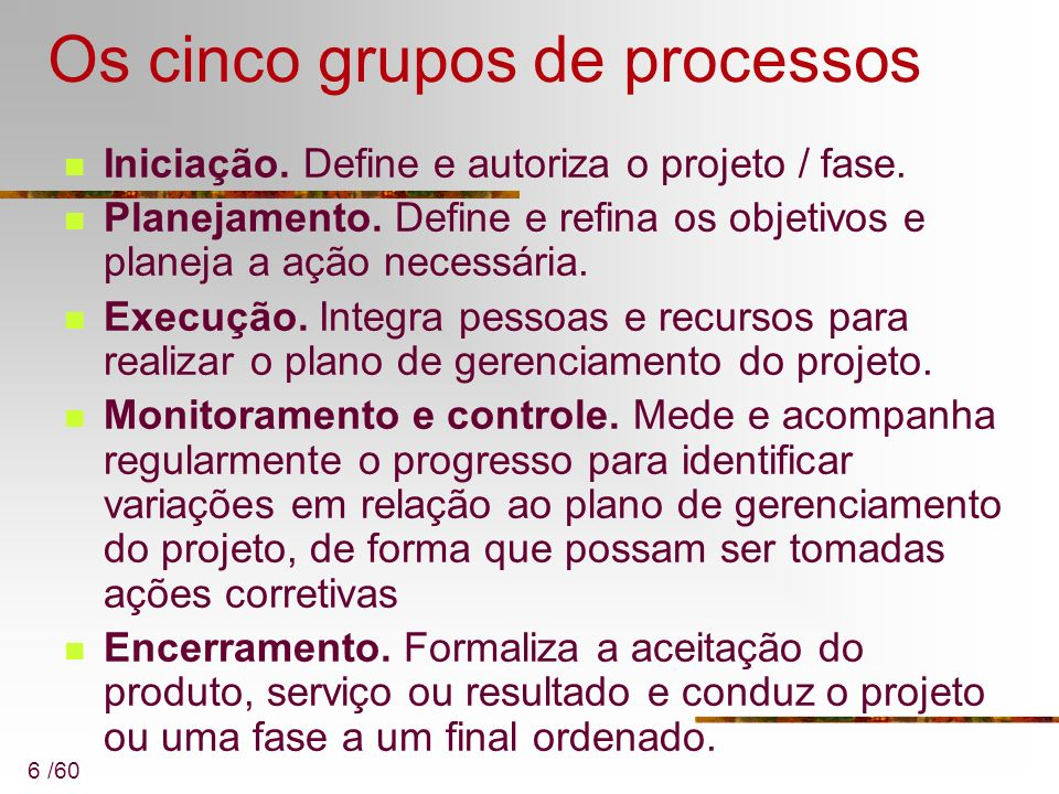Os cinco grupos de processos