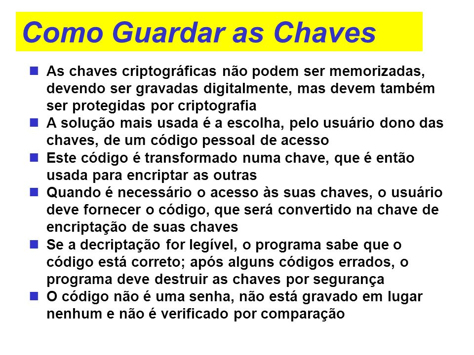 Como Guardar as Chaves