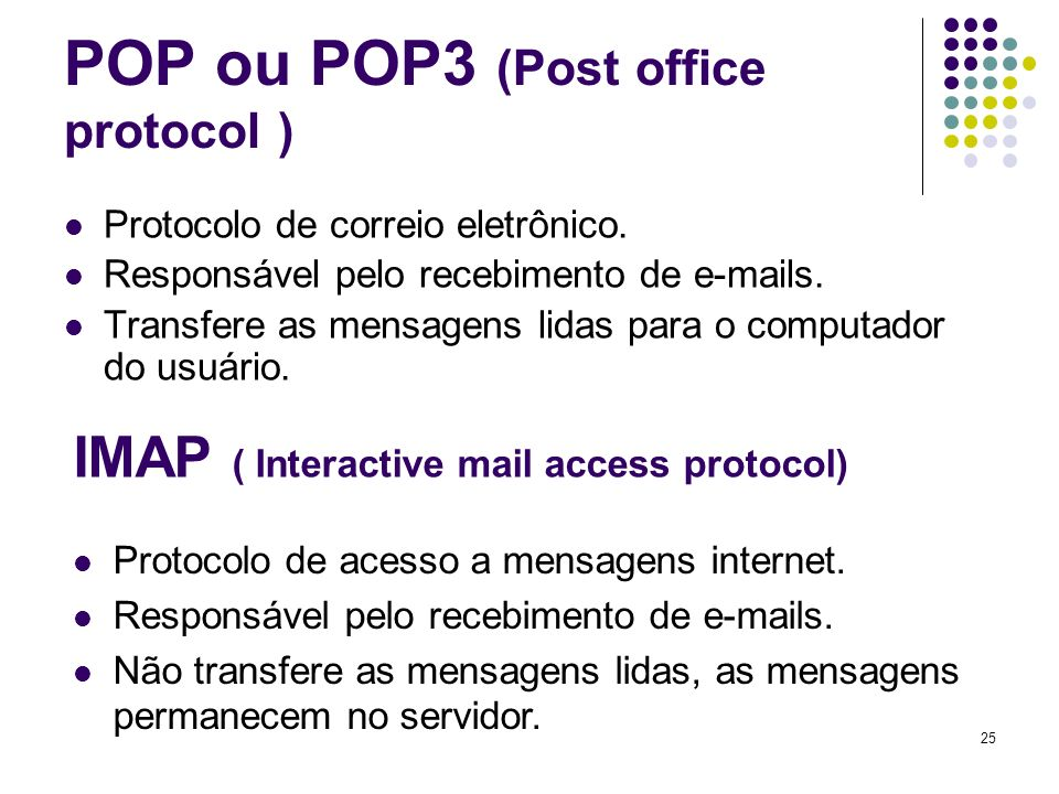 POP ou POP3 (Post office protocol )
