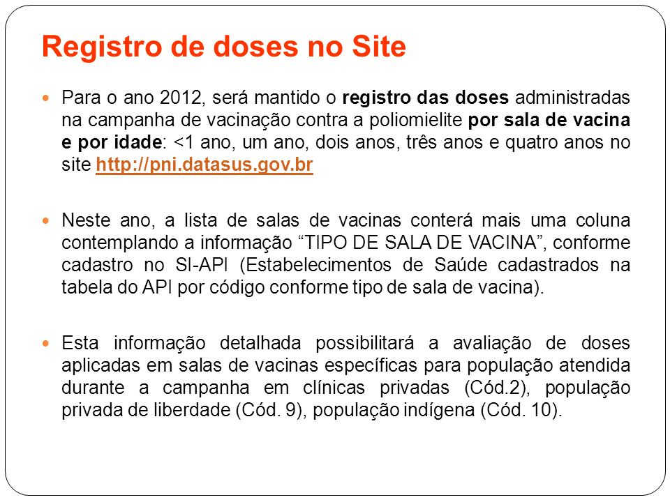 Registro de doses no Site