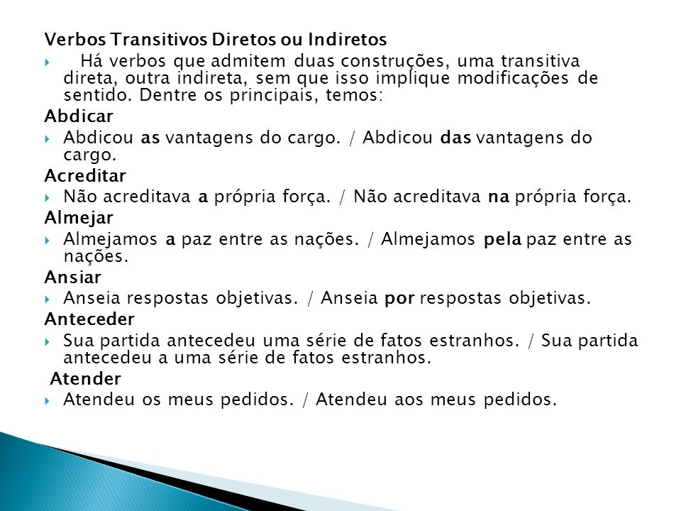 Verbos Transitivos Diretos ou Indiretos